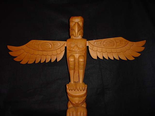 "1. Eagle & Beaver Totem - Red Cedar, 40"" high"