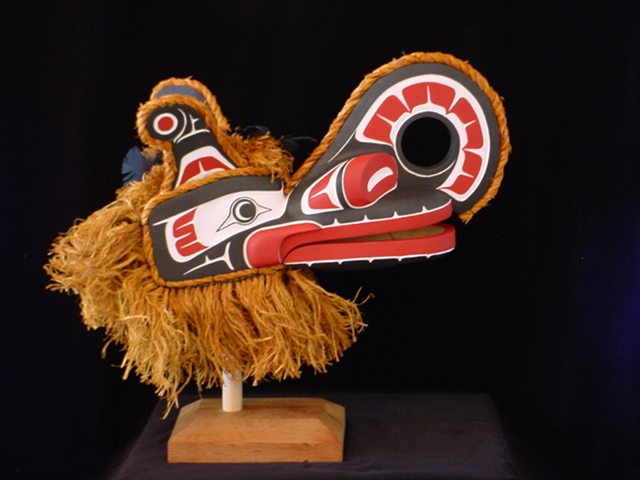 "RH: Crooked Beak Raven Mask, red cedar, acrylic, 22"" length"