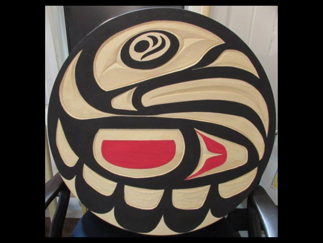 Eagle, yellow cedar, 2' diameter