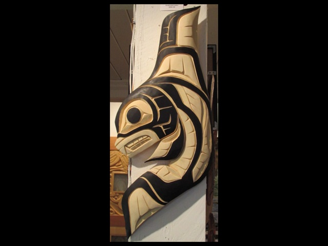 "Orca, yellow cedar, 30"" high"