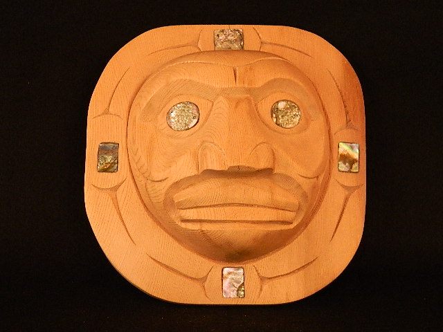 * Moon Mask, red cedar, shell inlay