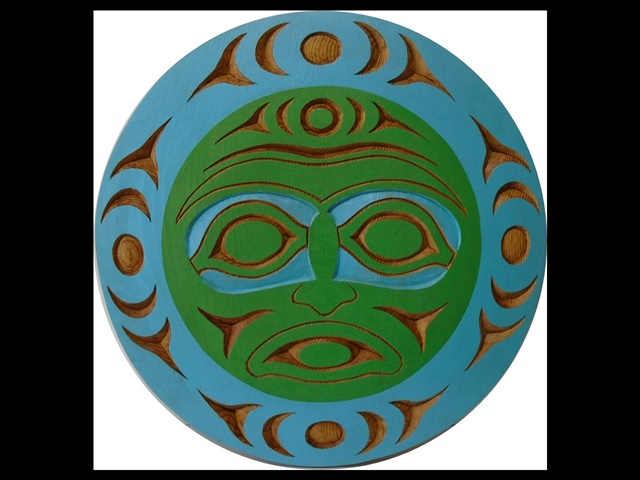 "9. Blue Moon Panel, 15"" red cedar, acrylic"