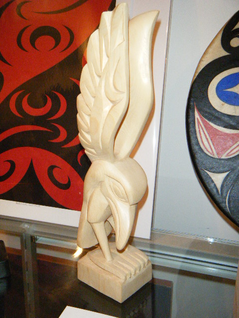 "Raven, yellow cedar, 12"" high"