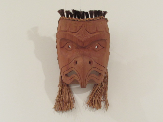"Eagle Mask, 12"" high, red cedar, horse hair, cedar rope"