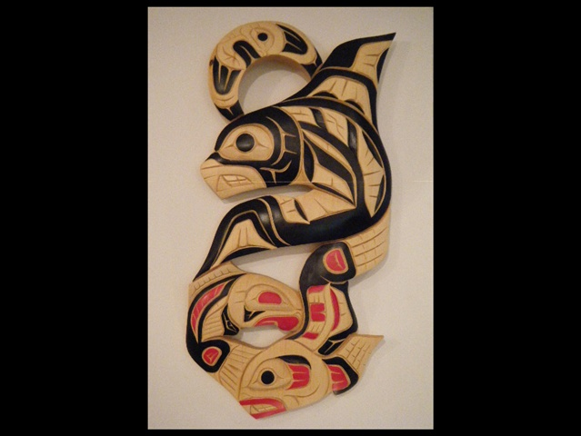 "2. Orca, Seal, Salmon & Qt. Moon, 28"" by 14"" yellow cedar"