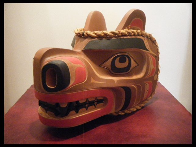 "MC: Bear Mask, 16"" length x 13"" high, 9"" width, red cedar"