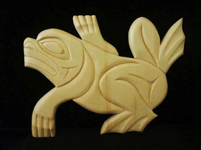 "* Frog, yellow cedar, 20"" wide"