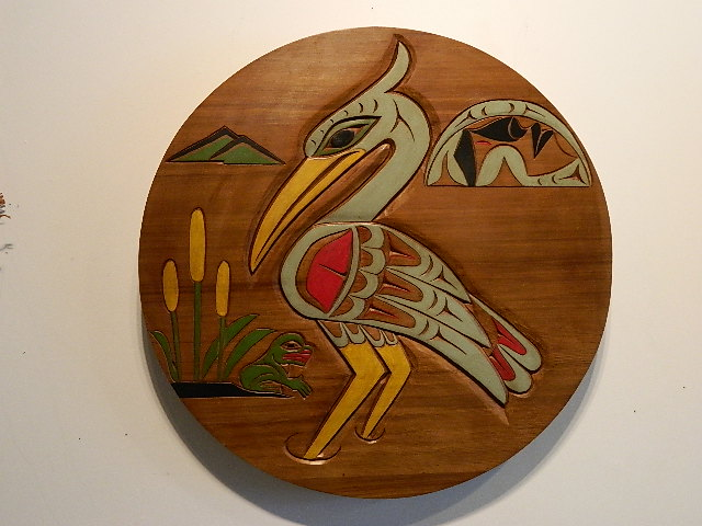 Heron, red cedar, 2' diameter