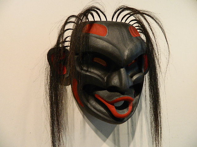 TH: Dzunakwa Mask, red cedar, mask hieght 15""