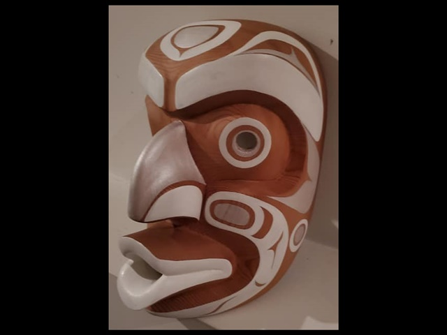 "1. Ghost Mask, 9"" high, red cedar & acrylic"