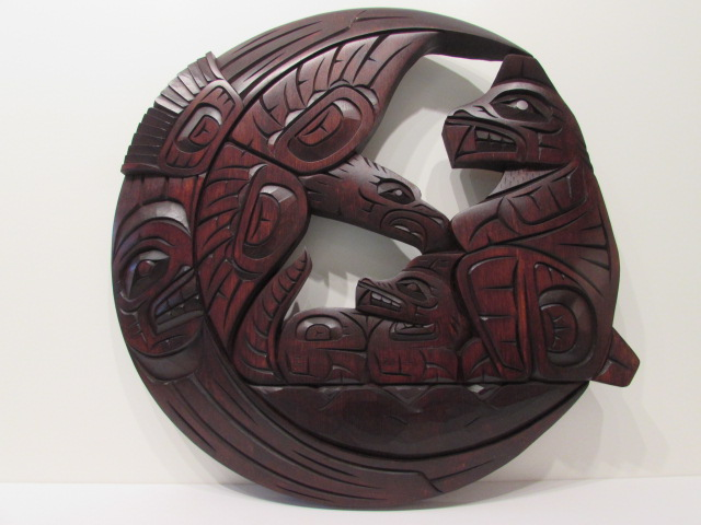 "EJ: Family of the Woods: Eagle, Bear, Wolf & Moon, 18"" diameter"