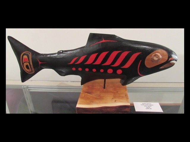 "JB - Salmon, cedar, acrylic, copper, 23"" long"