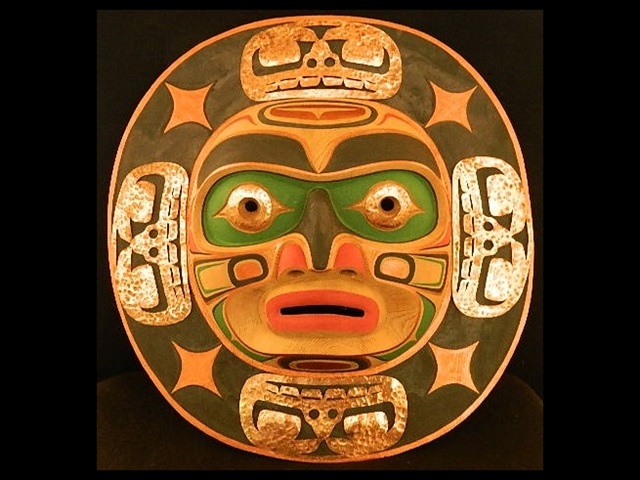 "JT: Moon Mask, 20"" wide, red cedar & copper"