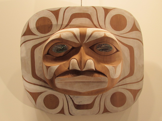 "DH: Moon Mask, red cedar, 16"" w x 15"" h"