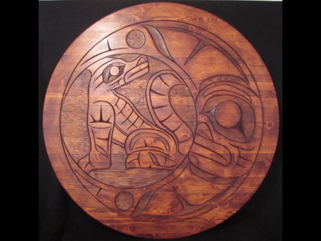 "Wolf & Moon Panel, 44"" diameter - Click Image to Close"