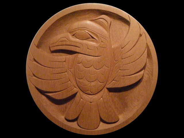 DH: Raven Panel; 2' diameter; red cedar