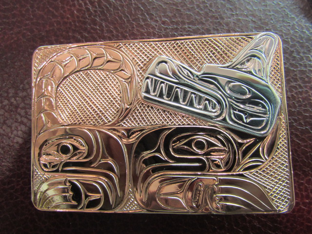 "Silver & Copper Belt Buckle, 3"" x 2"""