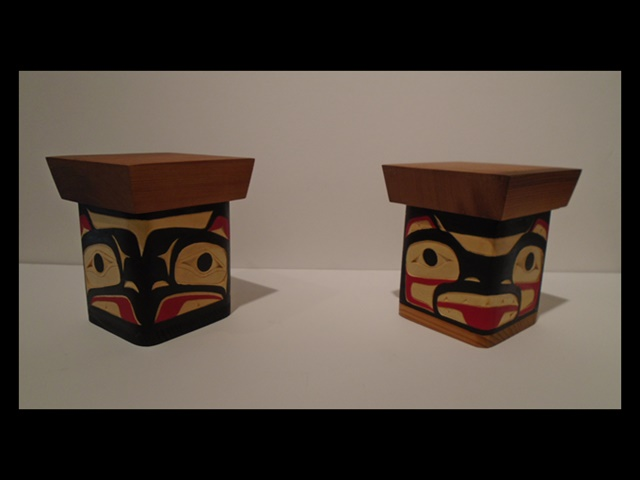 "7. Eagle & Bear bentwood boxes, 6"" high, red & yellow cedar"