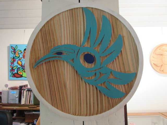 Hummingbird Panel; 1' diameter; red cedar, acrylic