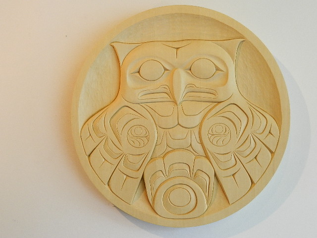 Owl Panel, yellow cedar, 2' diameter