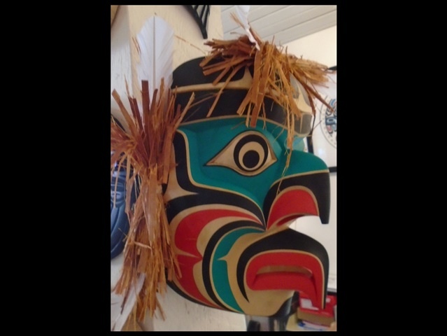 "JB: Grouse Mask, 14"" high, red cedar"
