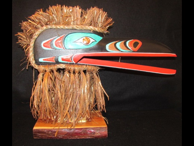 "JB: Raven Mask, 24"" length; red cedar, acrylic & copper"