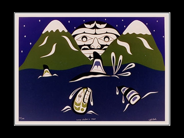WC: Killerwhales and Moon, serigraph